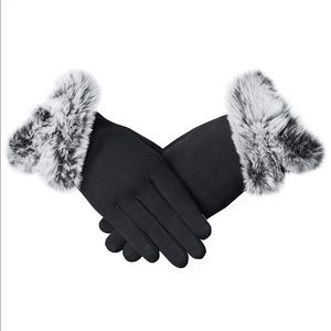 Touch screen fur trimmed gloves.